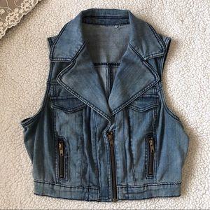 Jackets & Blazers - Denim Vest with Lace Under the Collar
